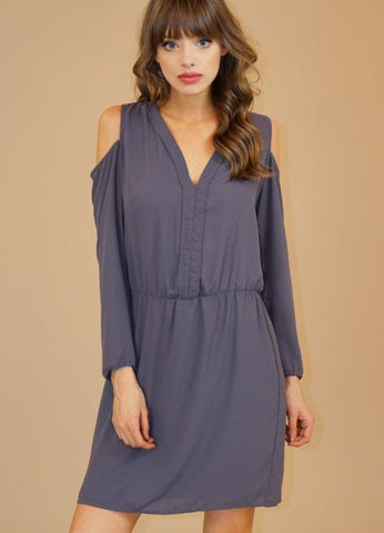 Charcoal Cold Shoulder Long Sleeve V Neck Dress by Veronica M.