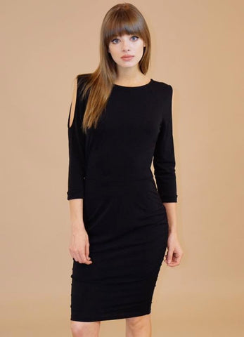 Black Cut Out Shoulder Sleeve Shirred Sides Dress by Veronica M.