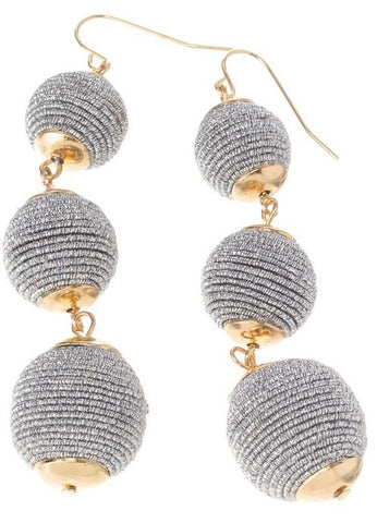 Three Tiered Ball Earrings - Silver