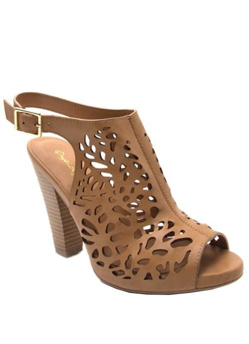 """Bailey"" Peep-Toe Laser Cut Sling Backs in Tan"