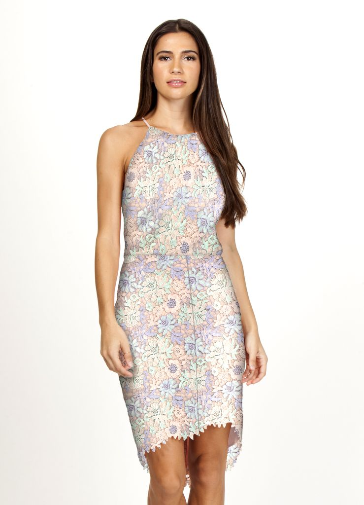 'Jessica' Woven Lace Dress in Pink Sand Multi