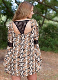 Judith March Snakeskin Bell Sleeve Dress with Back Crochet Detail
