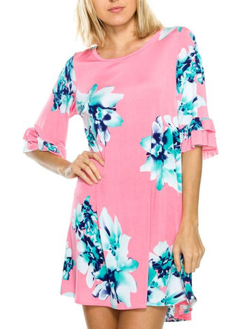 3/4 Ruffle Sleeve Pink Floral Dress with Pockets