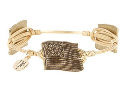 Bourbon and Boweties ™ US Flag (Antique Gold) on Gold Wire Bangle