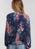 Floral Long Sleeve Surplice Tie Top