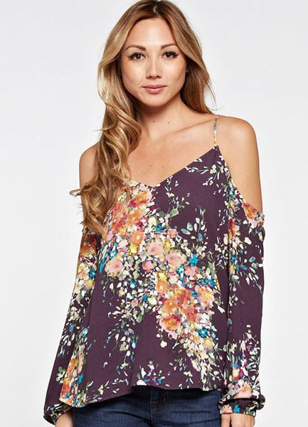Cold Shoulder Top in Raisin Rose Print