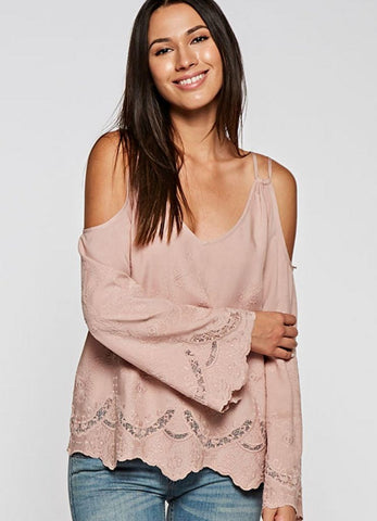 Blush Cold Shoulder Long Sleeve Top with Embroidery