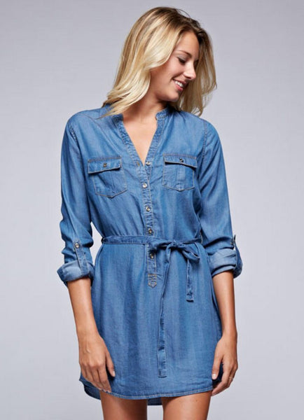 Tencel Tab Sleeve Shirt Dress