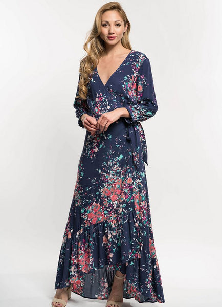 Long Sleeve Printed Wrap Maxi Dress in Navy