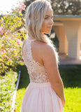 Blush Cocktail Dress with Lace Back
