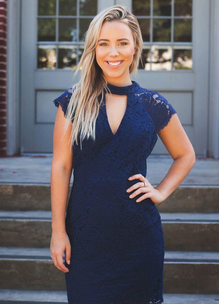 Navy Lace Keyhole Front Dress