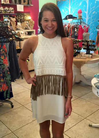 Cream Crochet Tank Dress with Fringe Accents on Front and Back