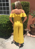 Mustard Culotte Cold Shoulder Ruffle Jumpsuit