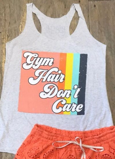 "Judith March ""Gym Hair Don't Care"" Tank in Heather White"
