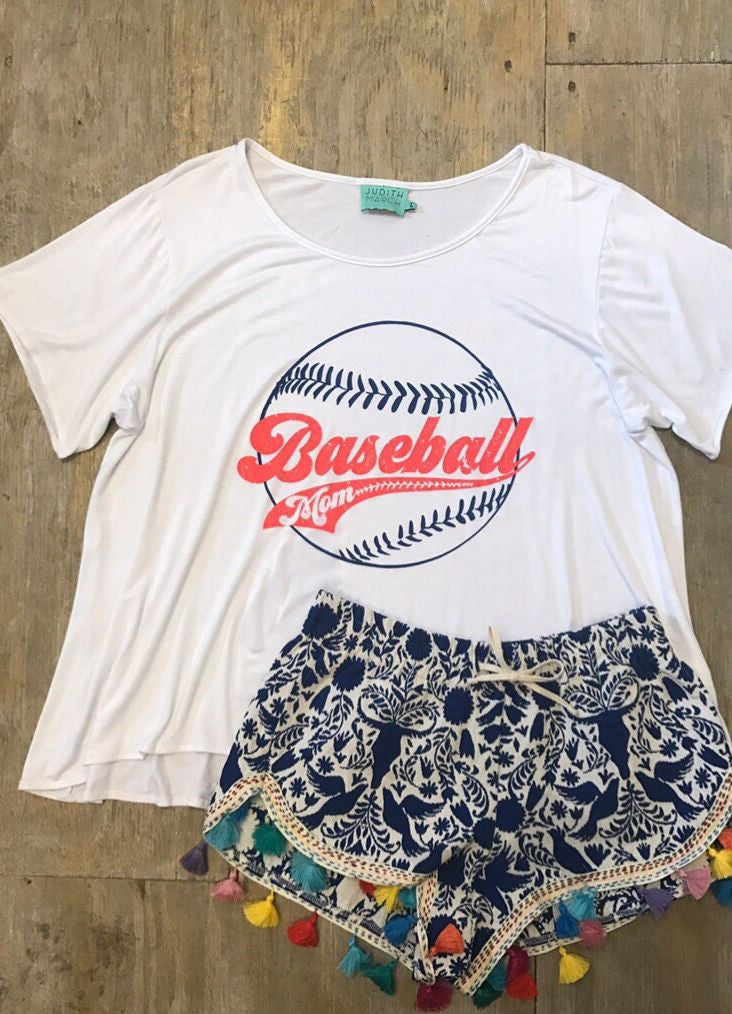 "Judith March ""Baseball Mom"" White Flowy Tee"