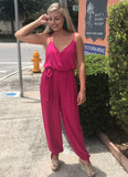 The 'Casey' Jumpsuit with Side Leg Slits in Fuchsia
