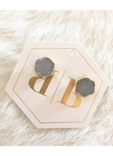 Hexagon Druzy Stud Earrings by Bijoux By Bonnet