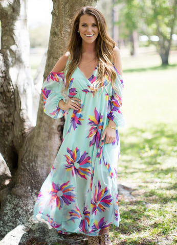 Judith March Not So Wallflower Cold Shoulder Maxi Dress