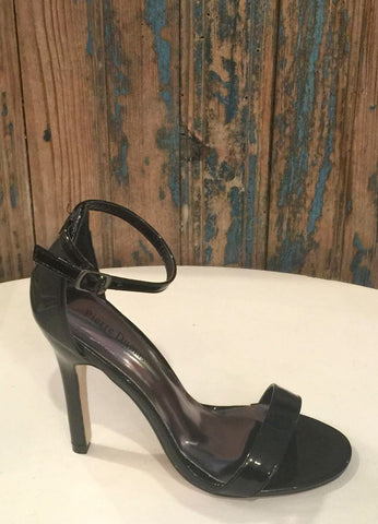 """Margaret"" Ankle Strap Heel in Black Patent"