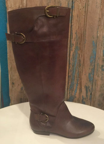 """Slick Nights"" Chocolate Leather Riding Boot"