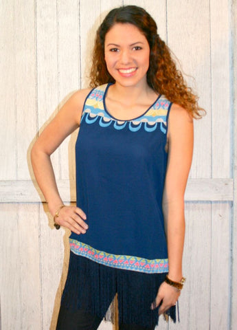 Navy Sleeveless Blouse with Embroidery and Fringe Trim