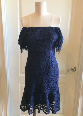 Off The Shoulder Lace Dress in Navy with Flair Skirt