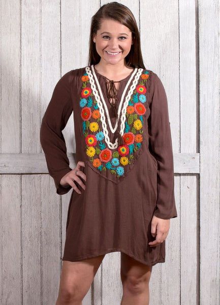 Judith March (Brown) Three Quarter/Long Sleeve Flower Embroidered Dress