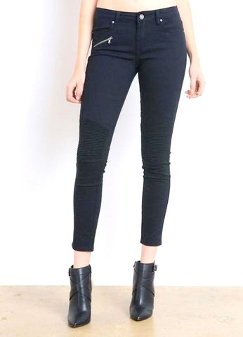 Black Skinny Moto Jeans with Zipper Detail