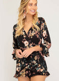 Black 3/4 Sleeve Floral Surplice Romper