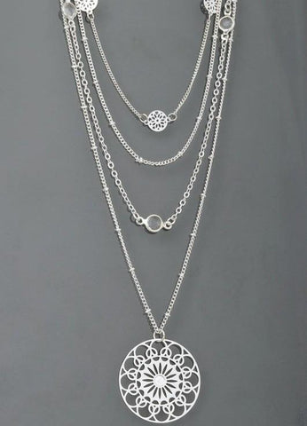 Layered Charm and Filigree Pendant Necklace in Silver