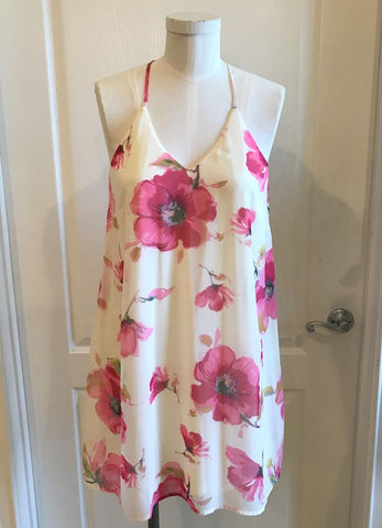 White and Pink Floral Sundress with Cage Back