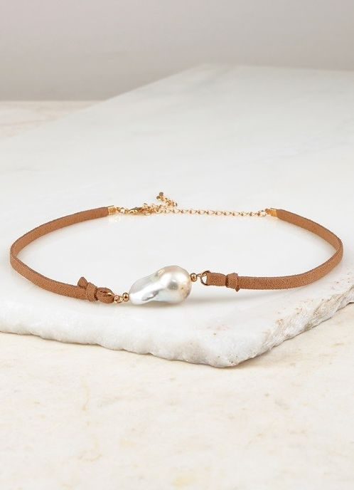 Pearl and Camel Leather Choker and Earring Set