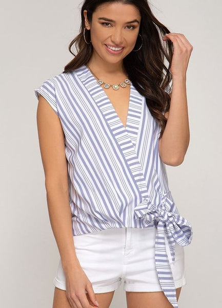 Blue and White Stripe Surplice Sleeveless Blouse with Side Tie