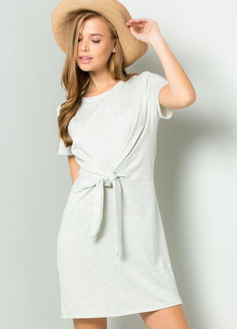 French Terry Side Twist Knit Dress in Heather Grey