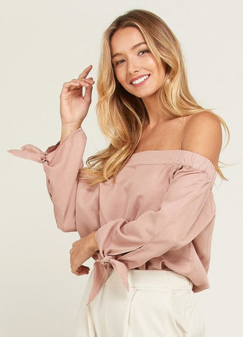 Off-The-Shoulder Tencel Top with Tie Sleeves in Champagne