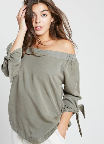 Off-The-Shoulder Tencel Top with Tie Sleeves in Olive