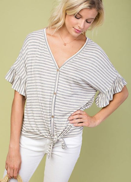 Ruffle Sleeve Tie Front Top in Taupe/Grey Stripe