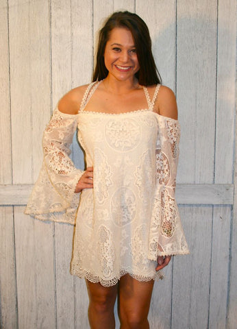 Ivory Crochet Lace Bell Sleeved Dress