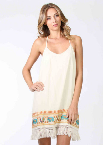 "Ivory ""Chandra"" Slip Dress with Trim Elephant Embroidery and Fringe"
