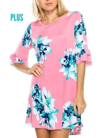 3/4 Ruffle Sleeve Pink Floral Dress with Pockets - Plus Size