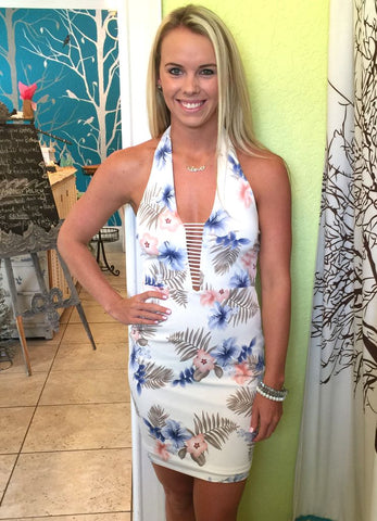 Bodycon Ivory Tropical Halter Dress