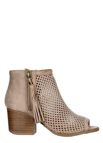 """Core-18"" Open-Toe Laser Cut Bootie with Fringe in Taupe"