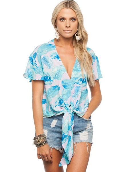'Rah Rah' Tie Front Top in Jungle Print by Buddy Love