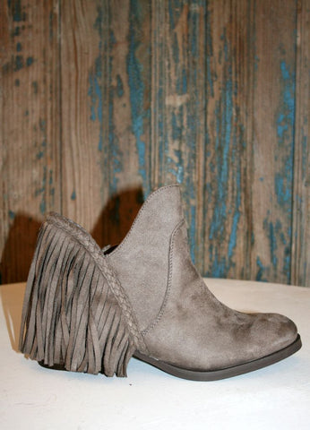 """Braxton"" Fringe Bootie in Taupe"