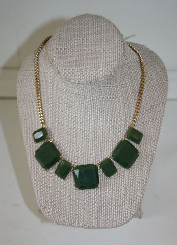 Faceted Square (Olive Green) Necklace and Earring Set