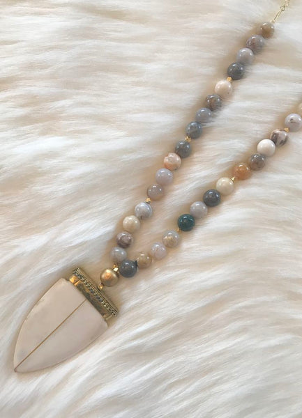 Ivory Pendant Necklace in Earth Tones by Bijoux By Bonnet
