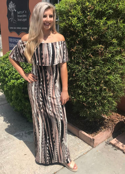 'Atlas' Off The Shoulder Ruffle Maxi Dress by Veronica M.