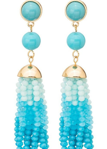 Bead and Stone Tassel Earrings - Aqua