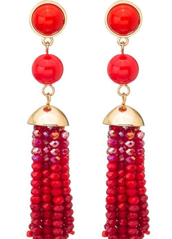 Bead and Stone Tassel Earrings - Red