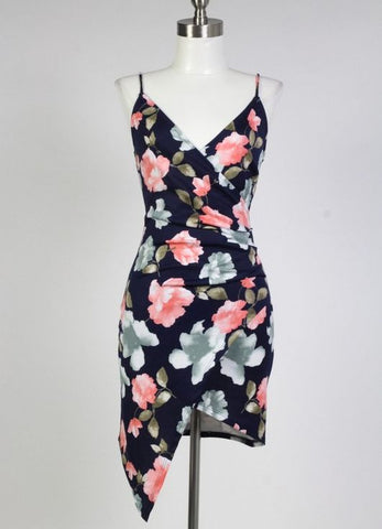 Bodycon Floral Dress in Navy